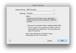 iTunes MP3 import settings: MP3 encoder Settings
